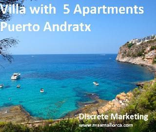 Mietshaus Meerblick-Villa mit  5 Wohnungen in Puerto Andratx . Mehrfamilienhaus